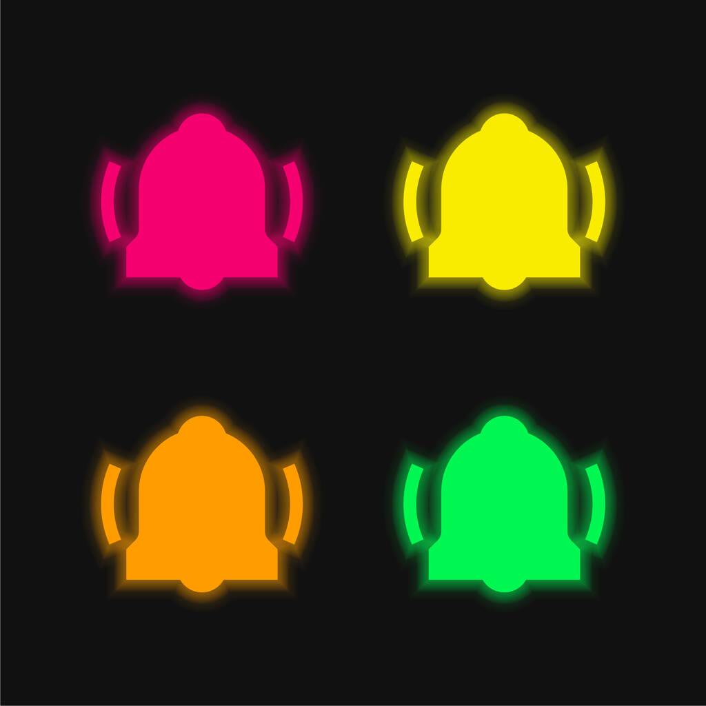Alarm four color glowing neon vector icon