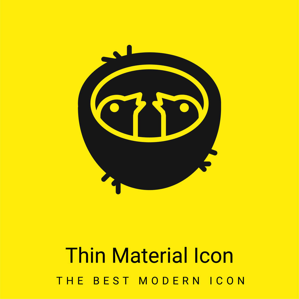 Baby Birds In A Nest minimal bright yellow material icon