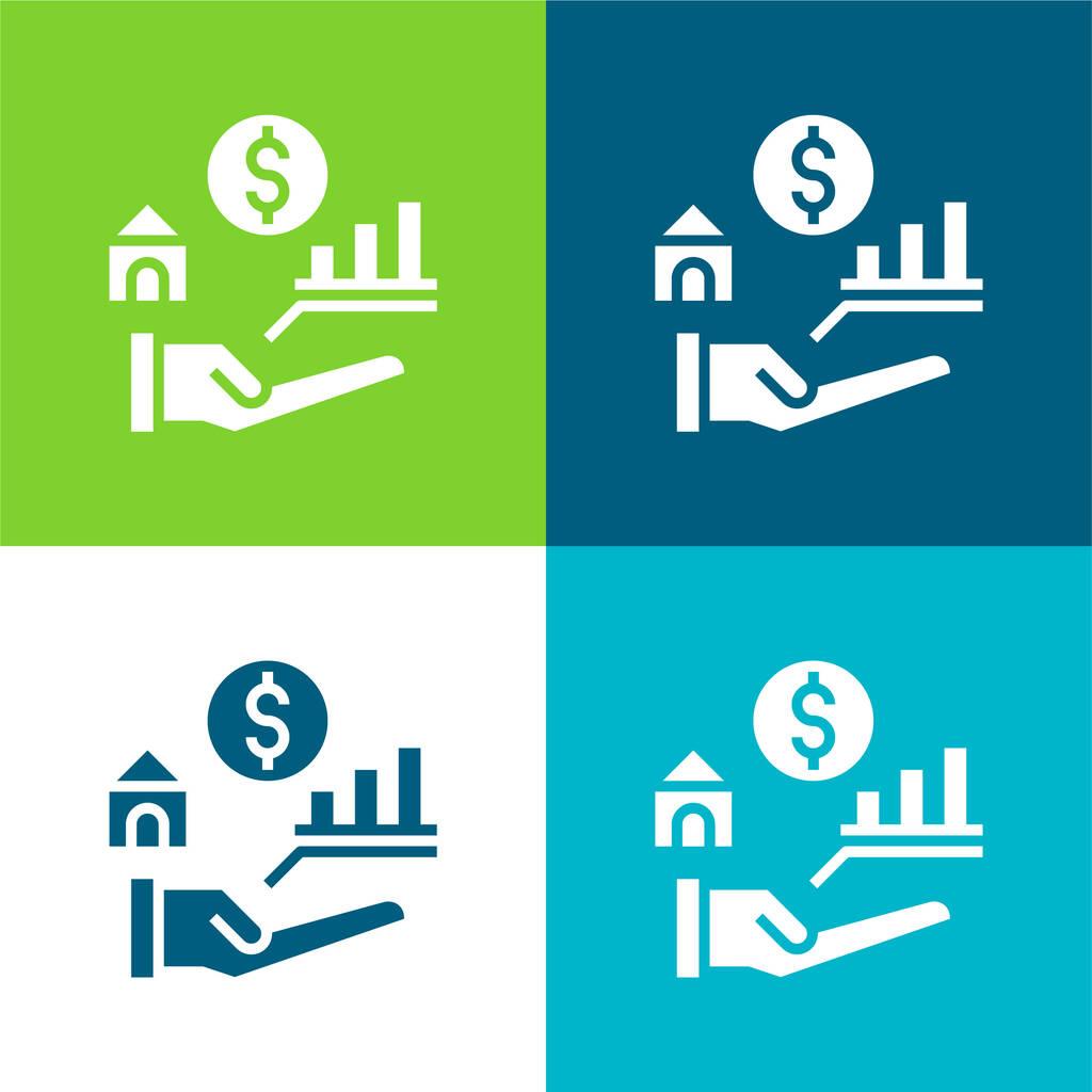 Benefits Flat four color minimal icon set