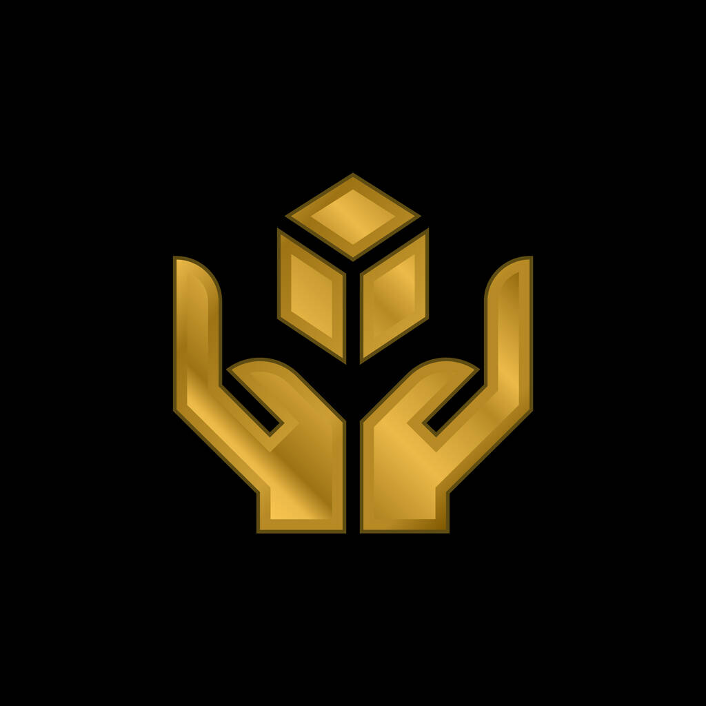 Box gold plated metalic icon or logo vector