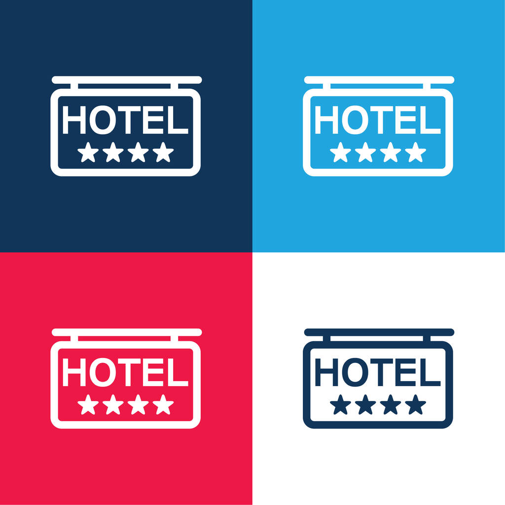 4 Stars Hotel Signal blue and red four color minimal icon set
