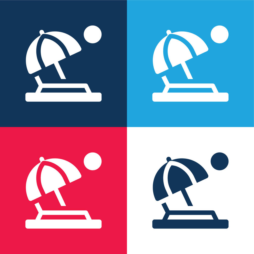 Beach blue and red four color minimal icon set
