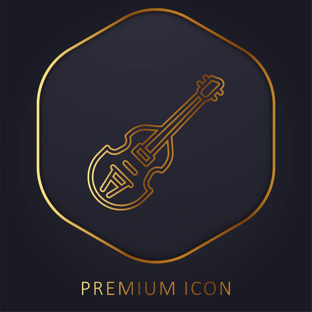 Bass golden line premium logo or icon