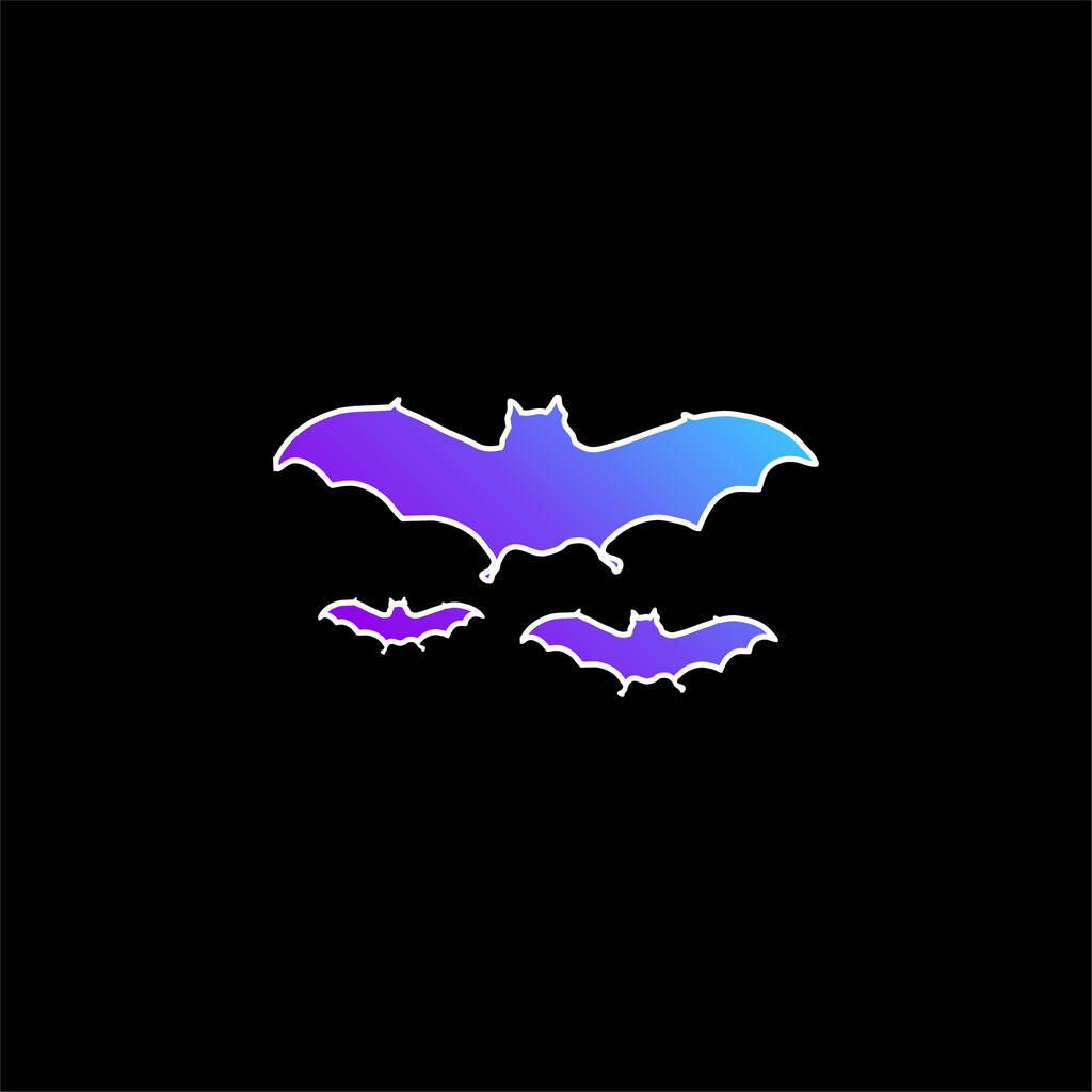 Bats Flying blue gradient vector icon