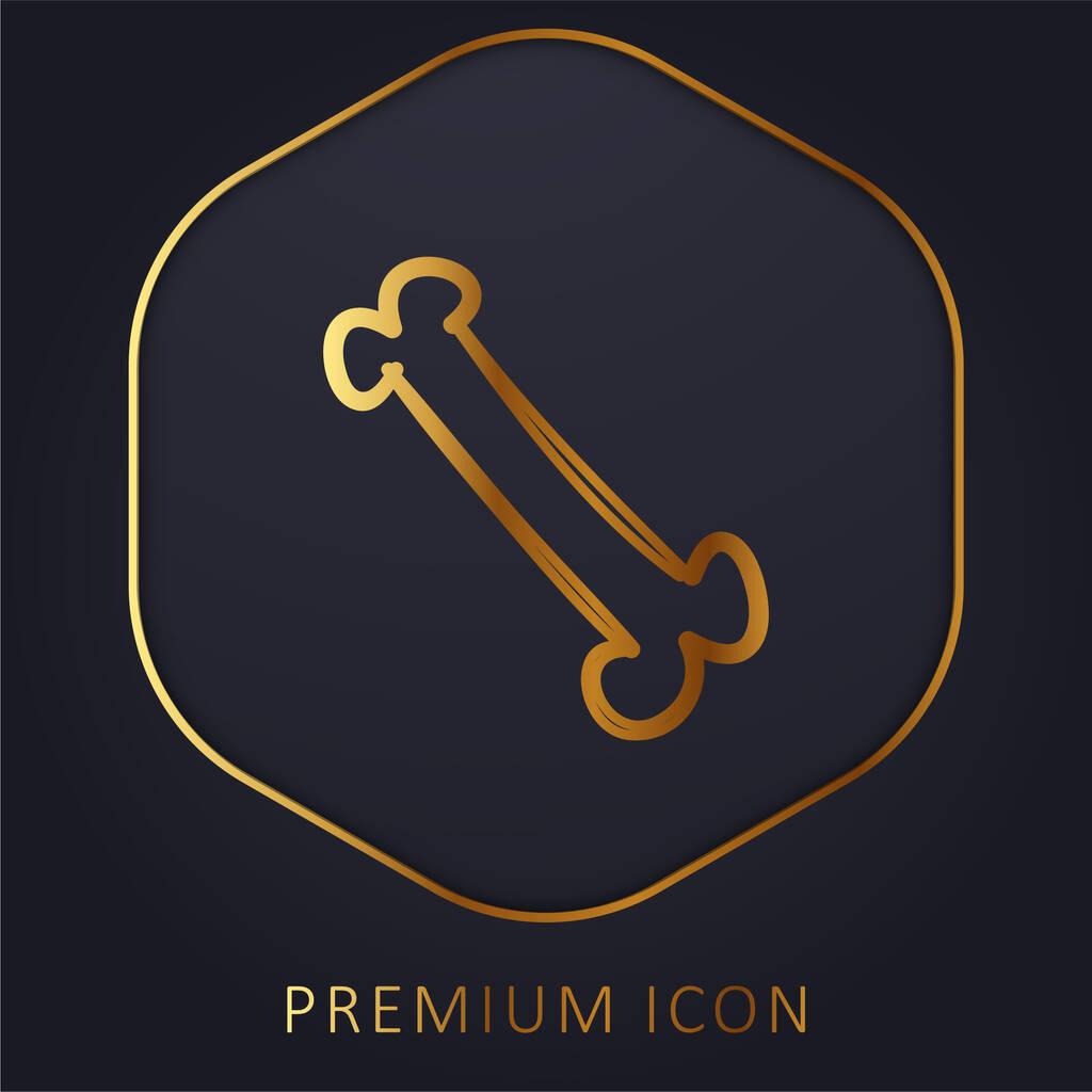 Bone Outlined Shape golden line premium logo or icon