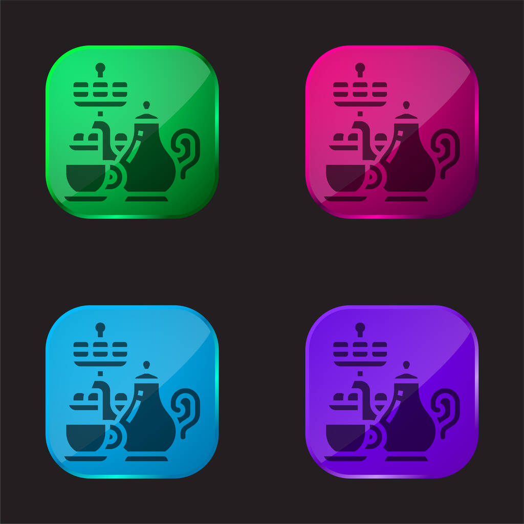 Afternoon Tea four color glass button icon