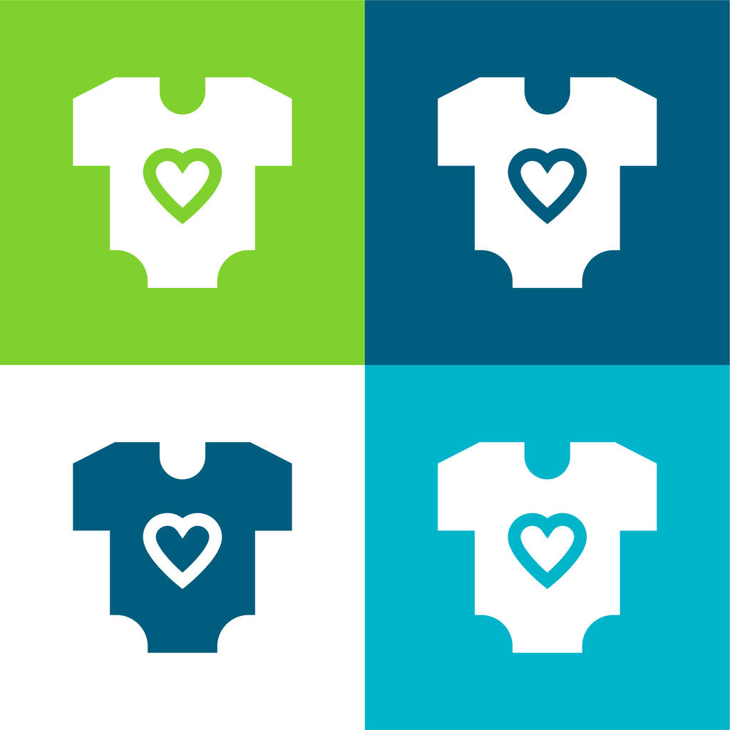 Baby Clothes Flat four color minimal icon set