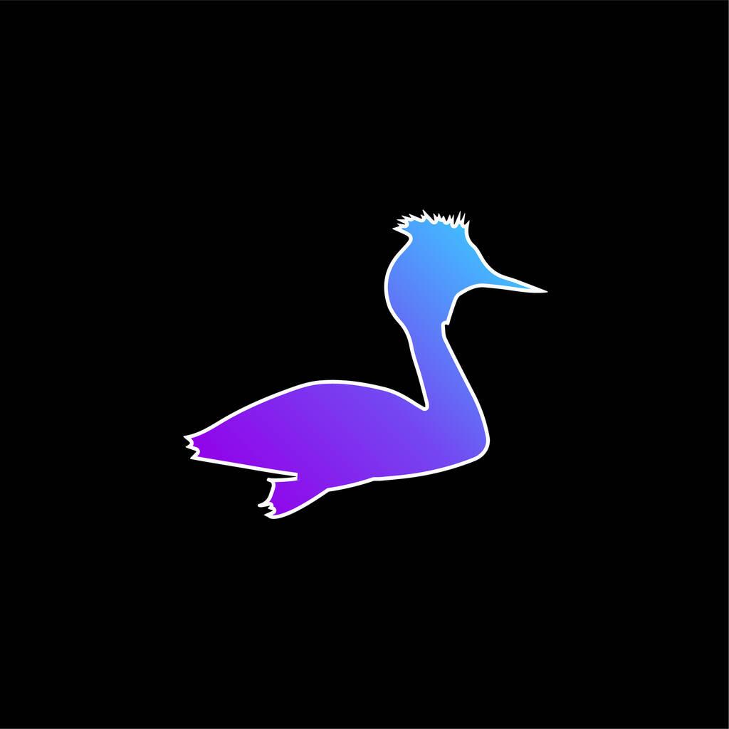 Bird Grebe Shape blue gradient vector icon