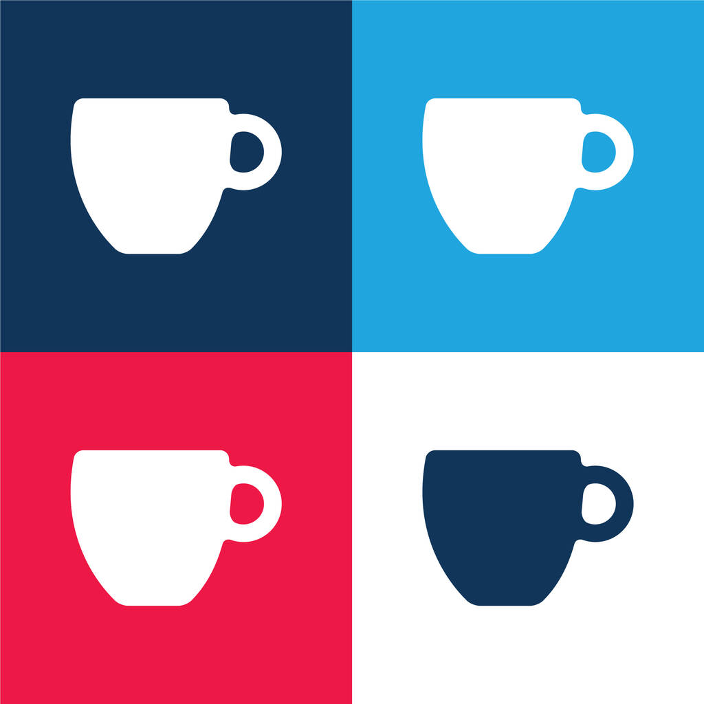 Black Coffee Cup blue and red four color minimal icon set