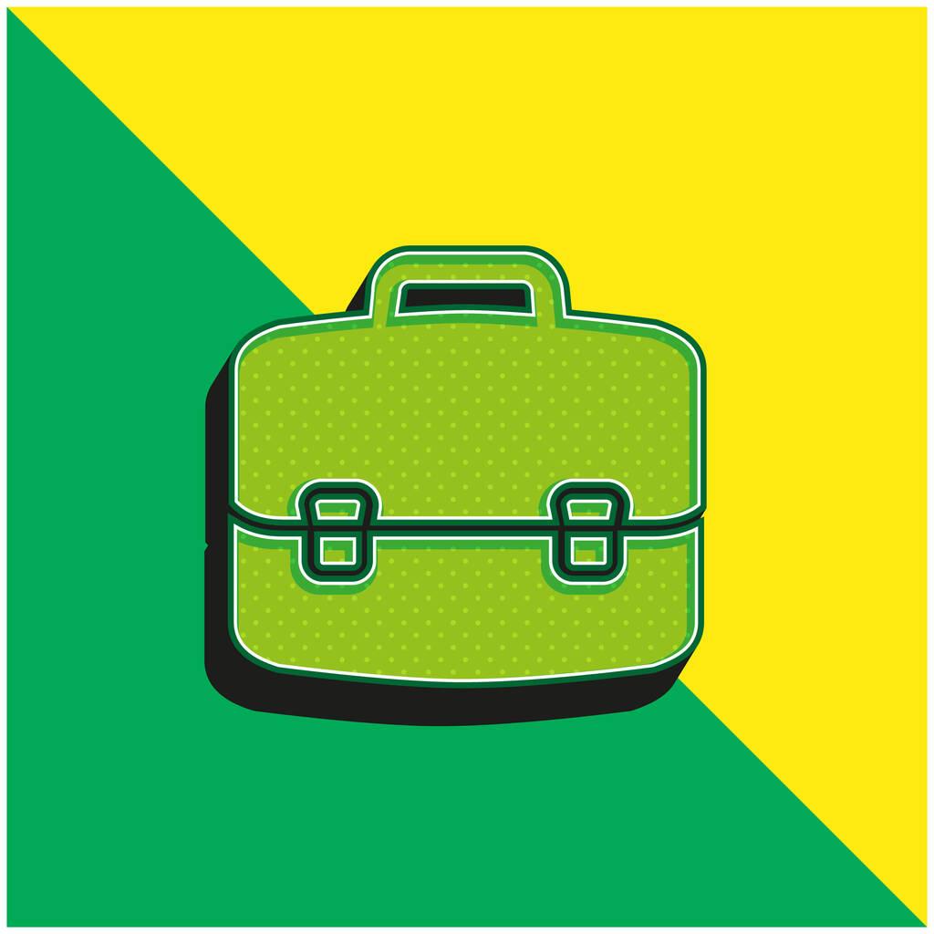 Briefcase Green and yellow modern 3d vector icon logo