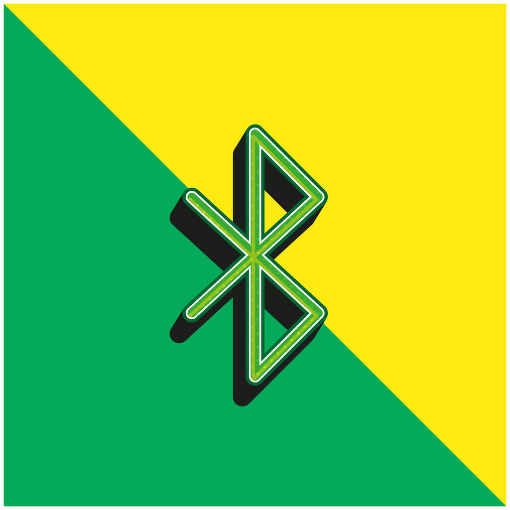 Bluetooth Green and yellow modern 3d vector icon logo