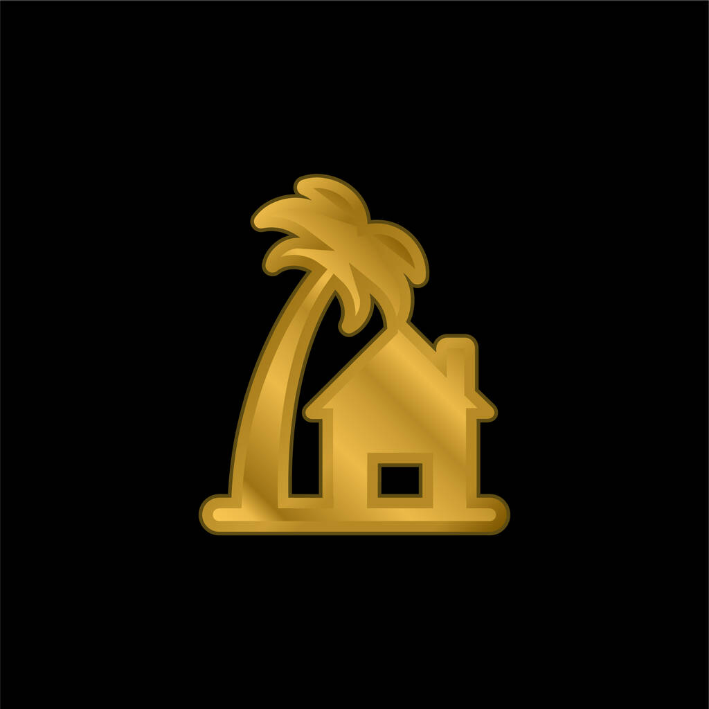 Beach House gold plated metalic icon or logo vector