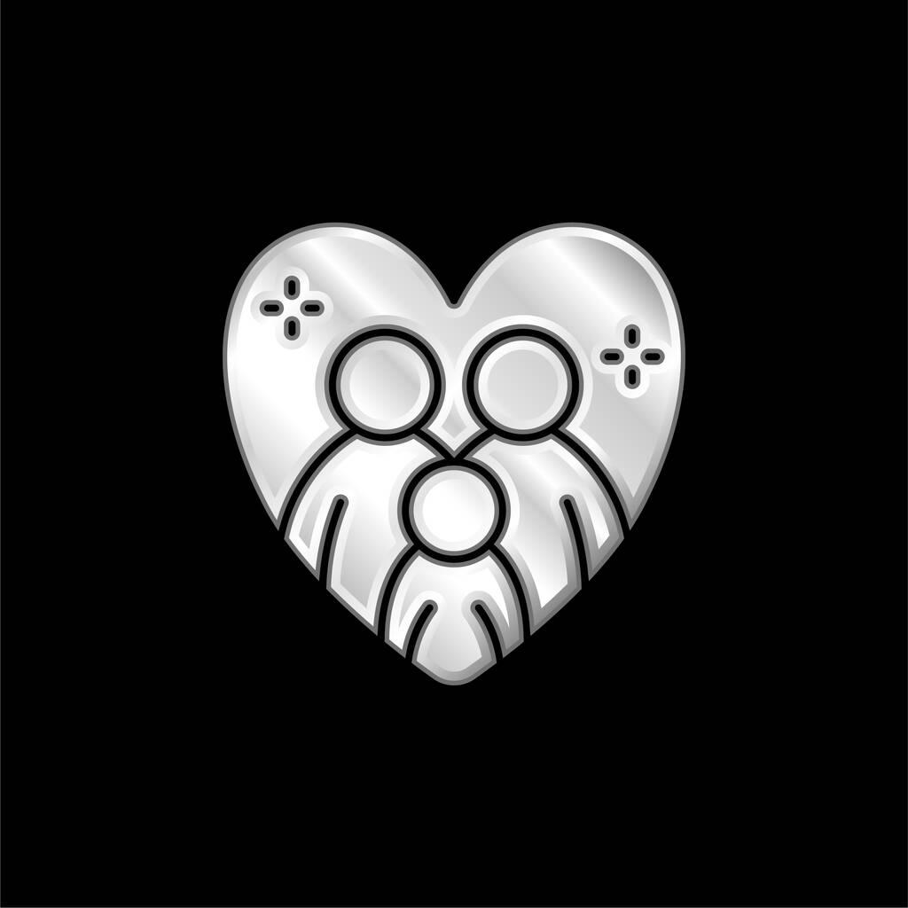 Adoption silver plated metallic icon