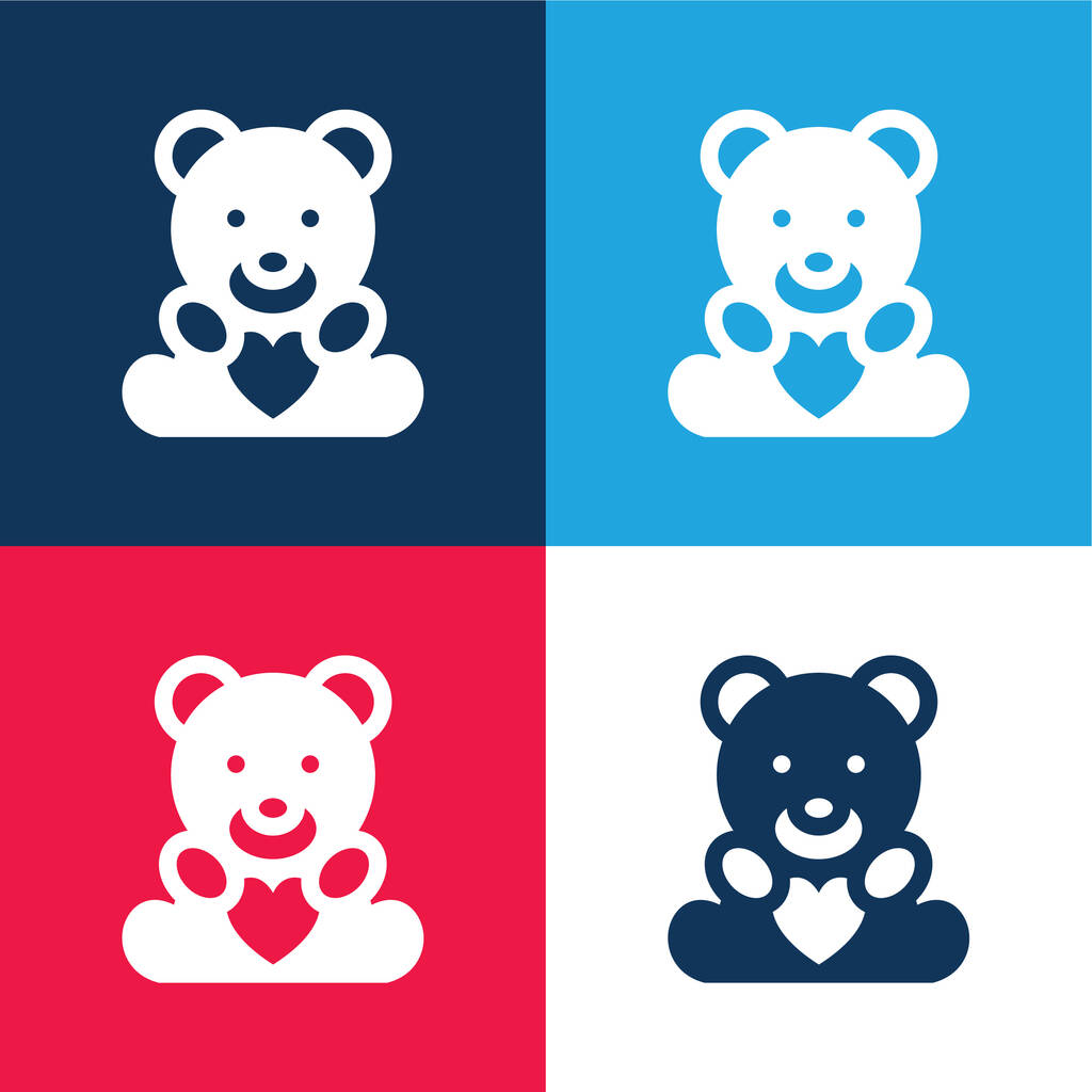 Beard With Heart blue and red four color minimal icon set