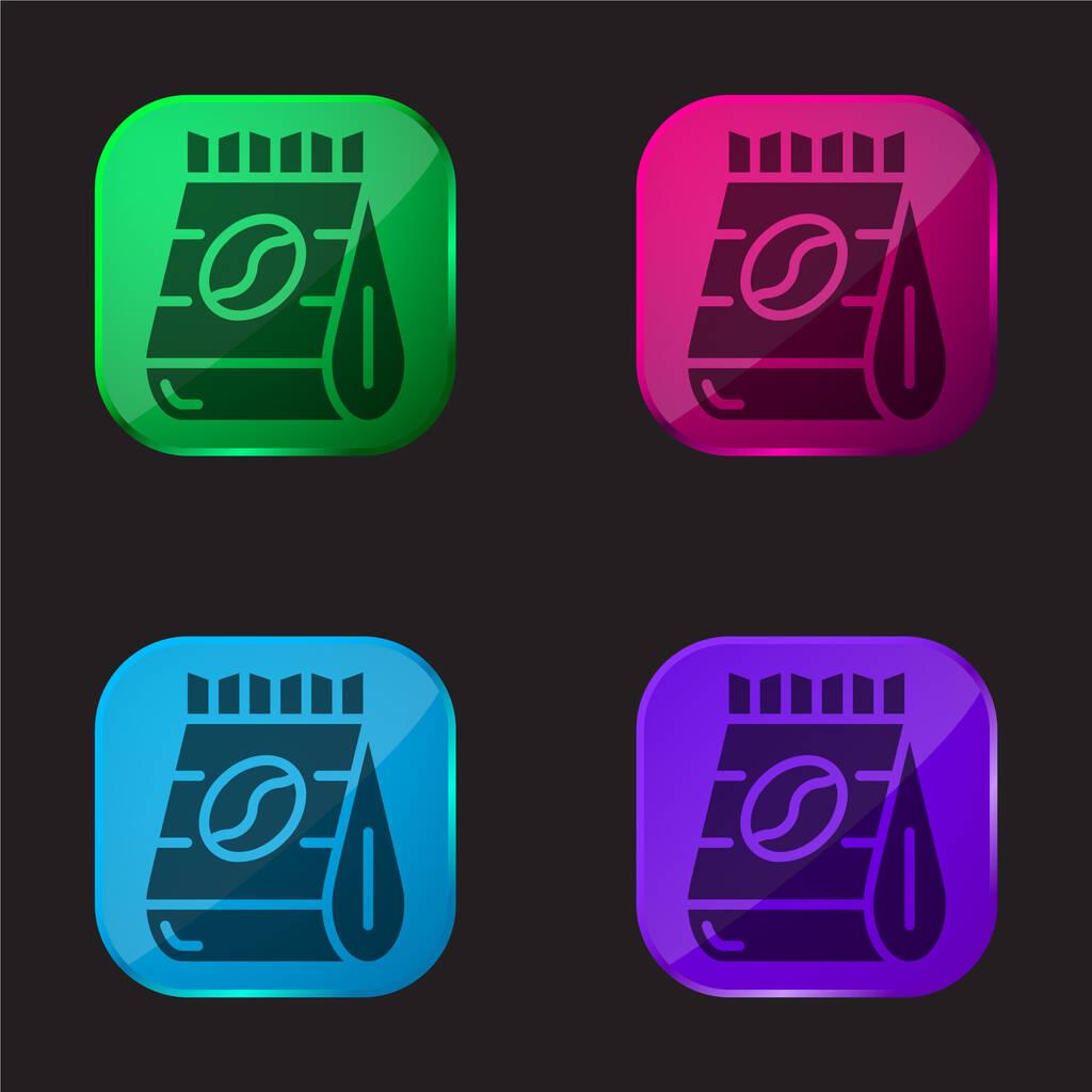 Beans four color glass button icon