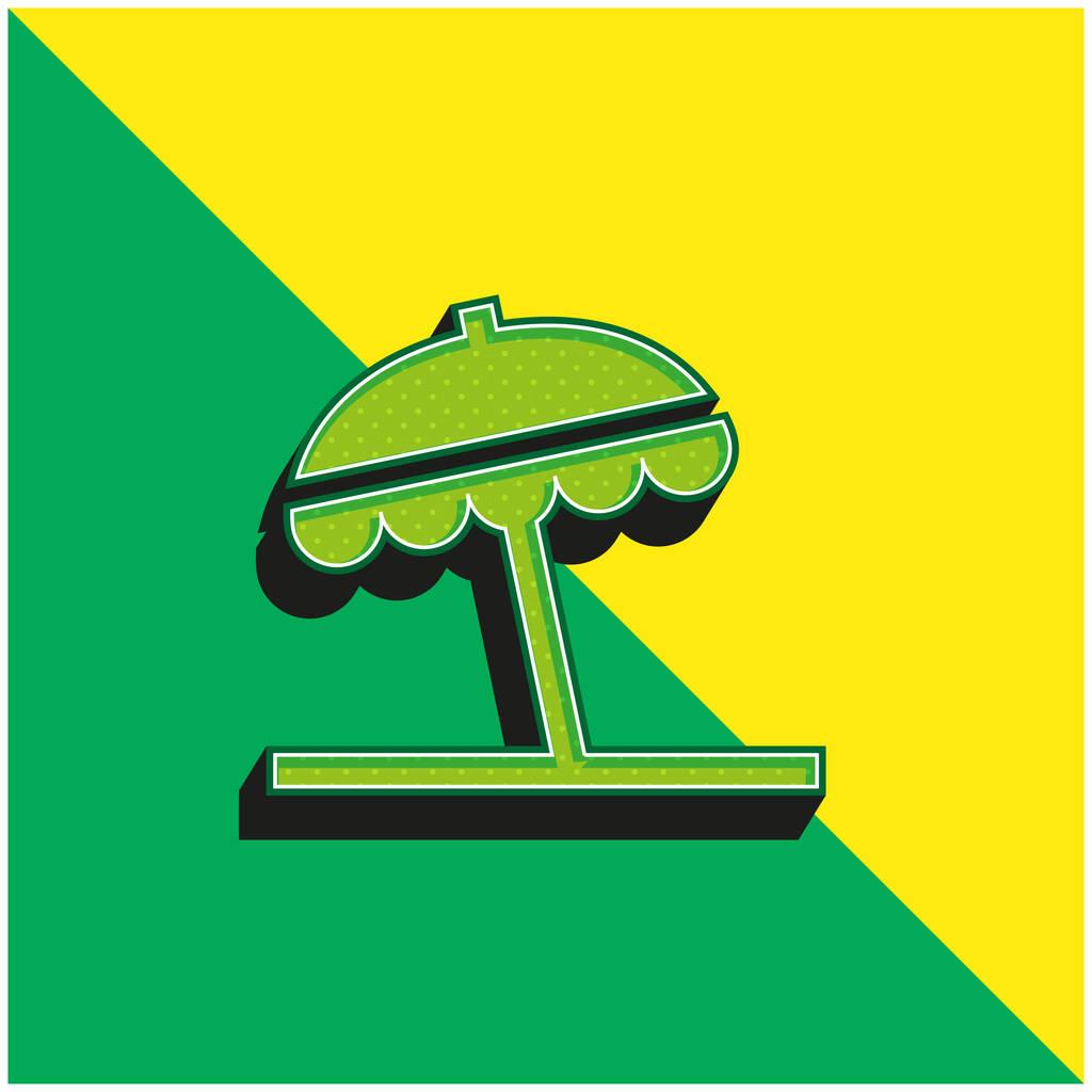 Beach Umbrella Green and yellow modern 3d vector icon logo