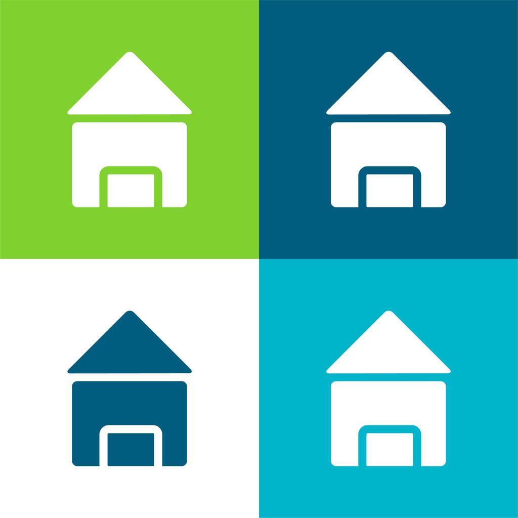 Black House Flat four color minimal icon set