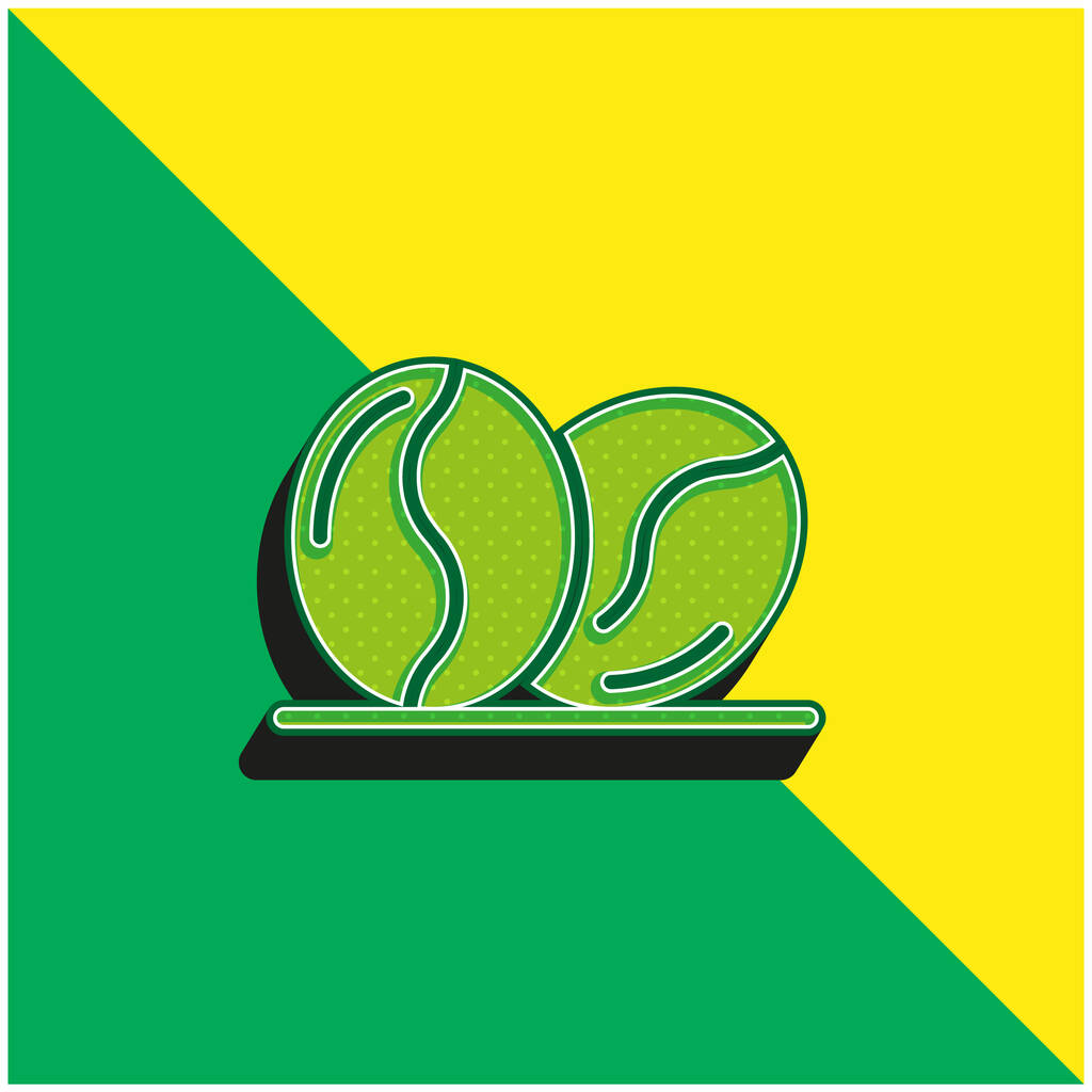 Beans Green and yellow modern 3d vector icon logo