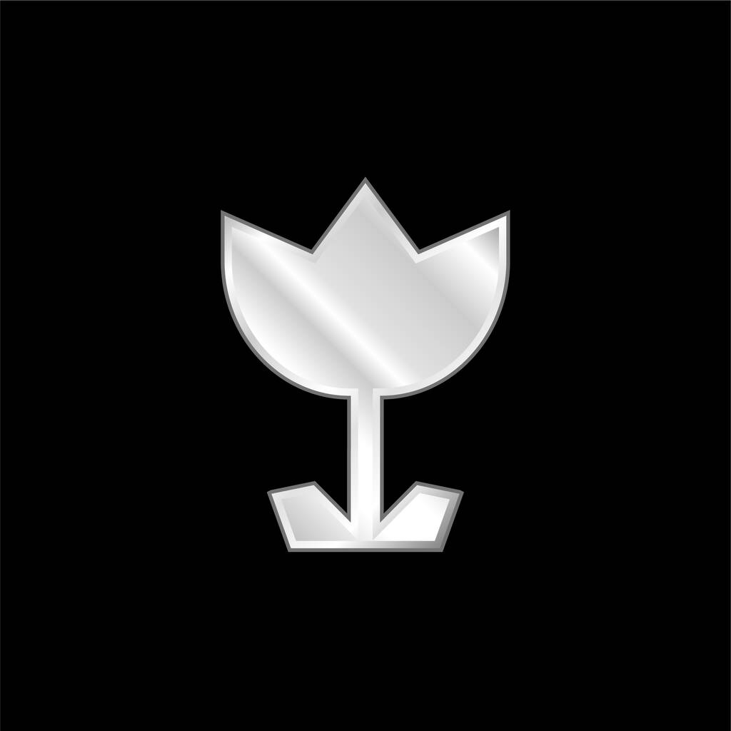 Angular Flower silver plated metallic icon