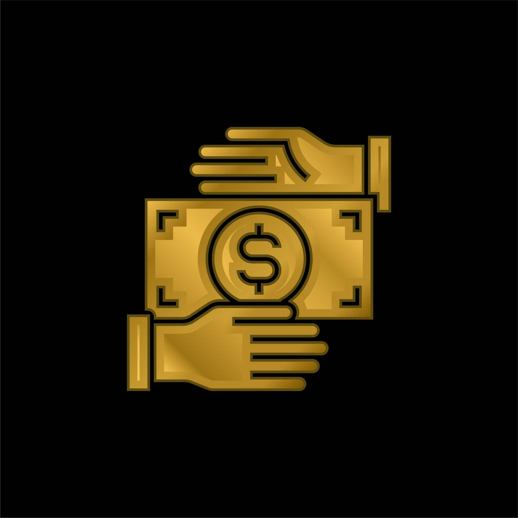 Bribery gold plated metalic icon or logo vector