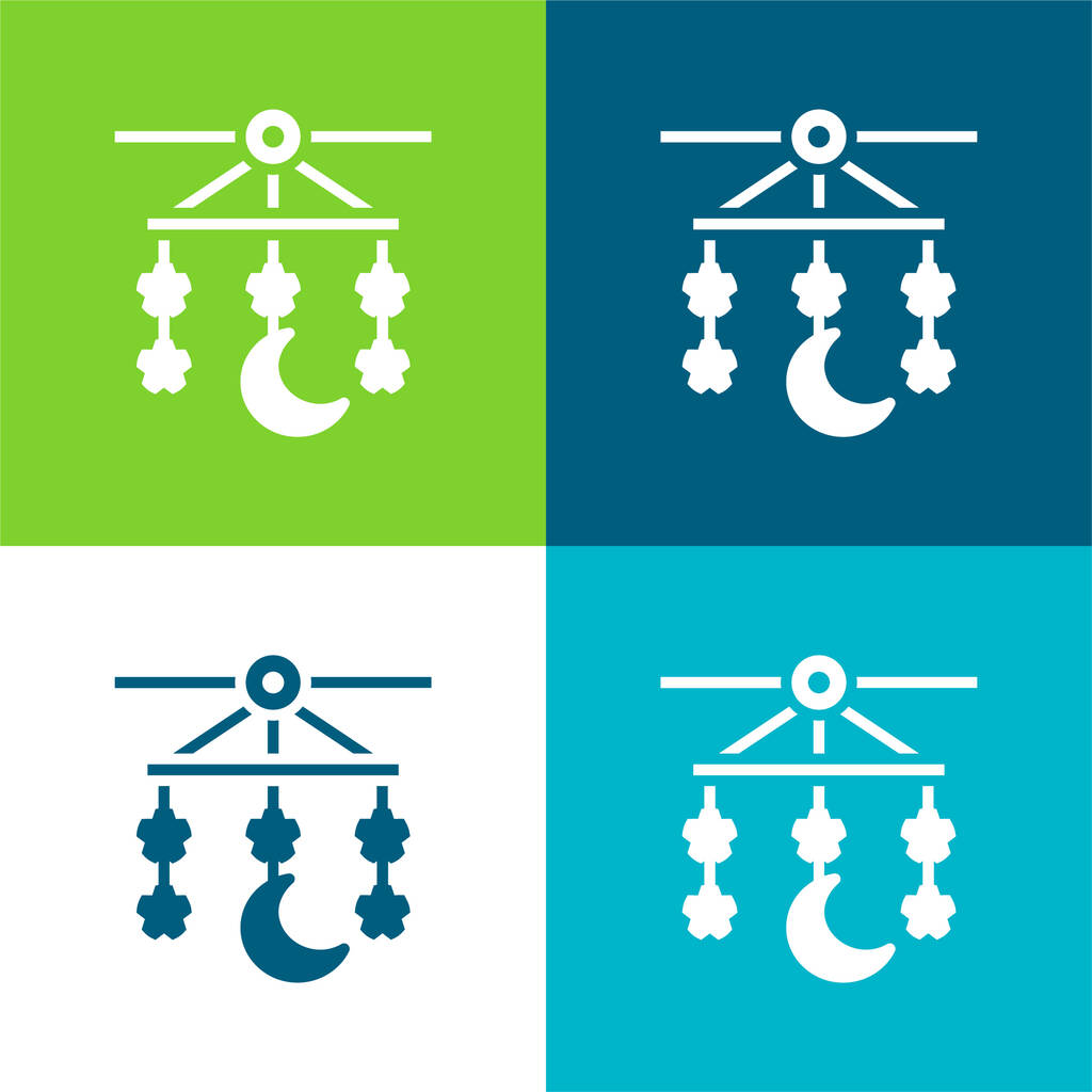 Baby Mobile Flat four color minimal icon set