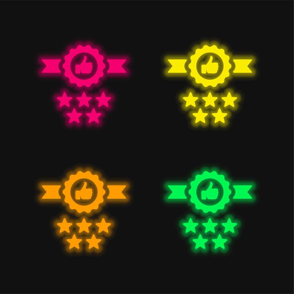 Badge four color glowing neon vector icon