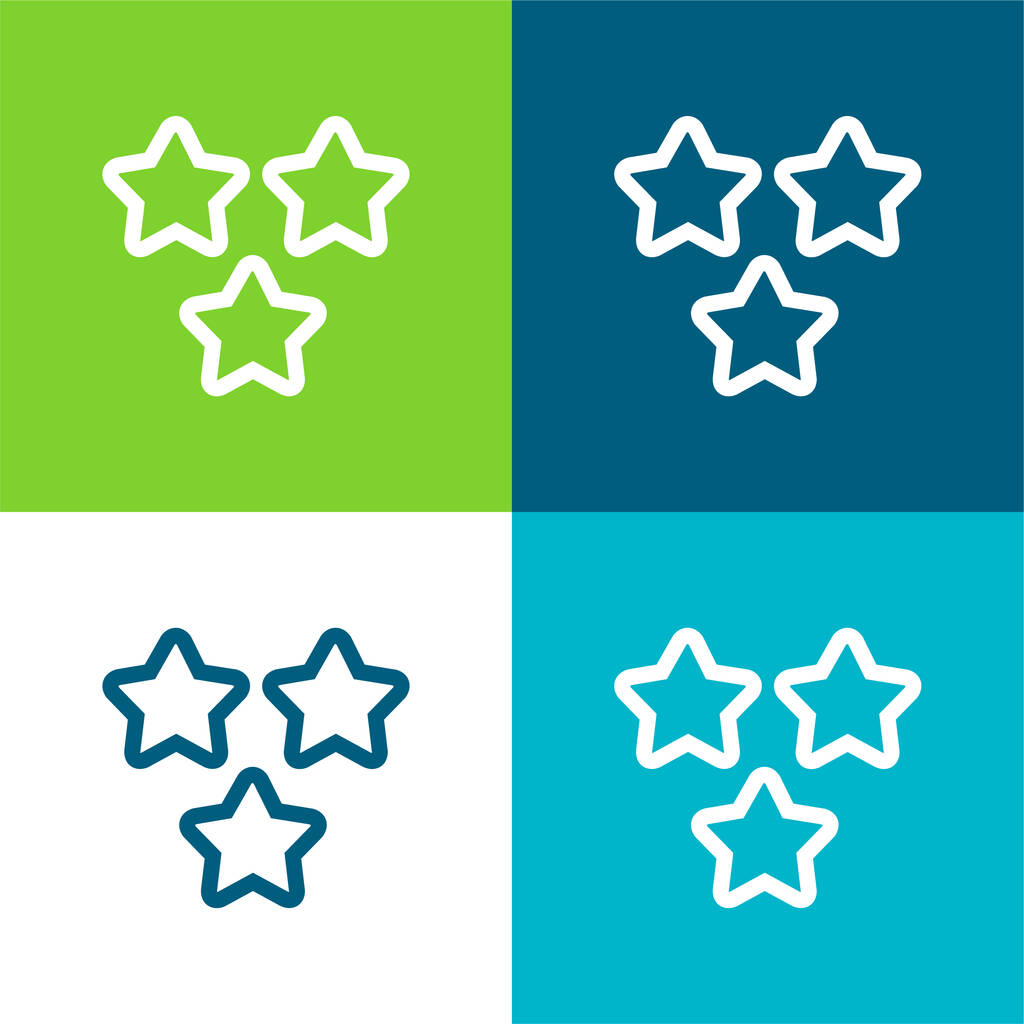 3 Stars Outlines Flat four color minimal icon set