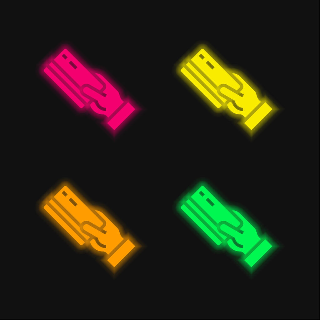 Atm four color glowing neon vector icon