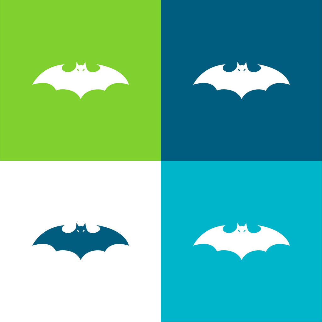 Bat Silhouette With Extended Wings Flat four color minimal icon set