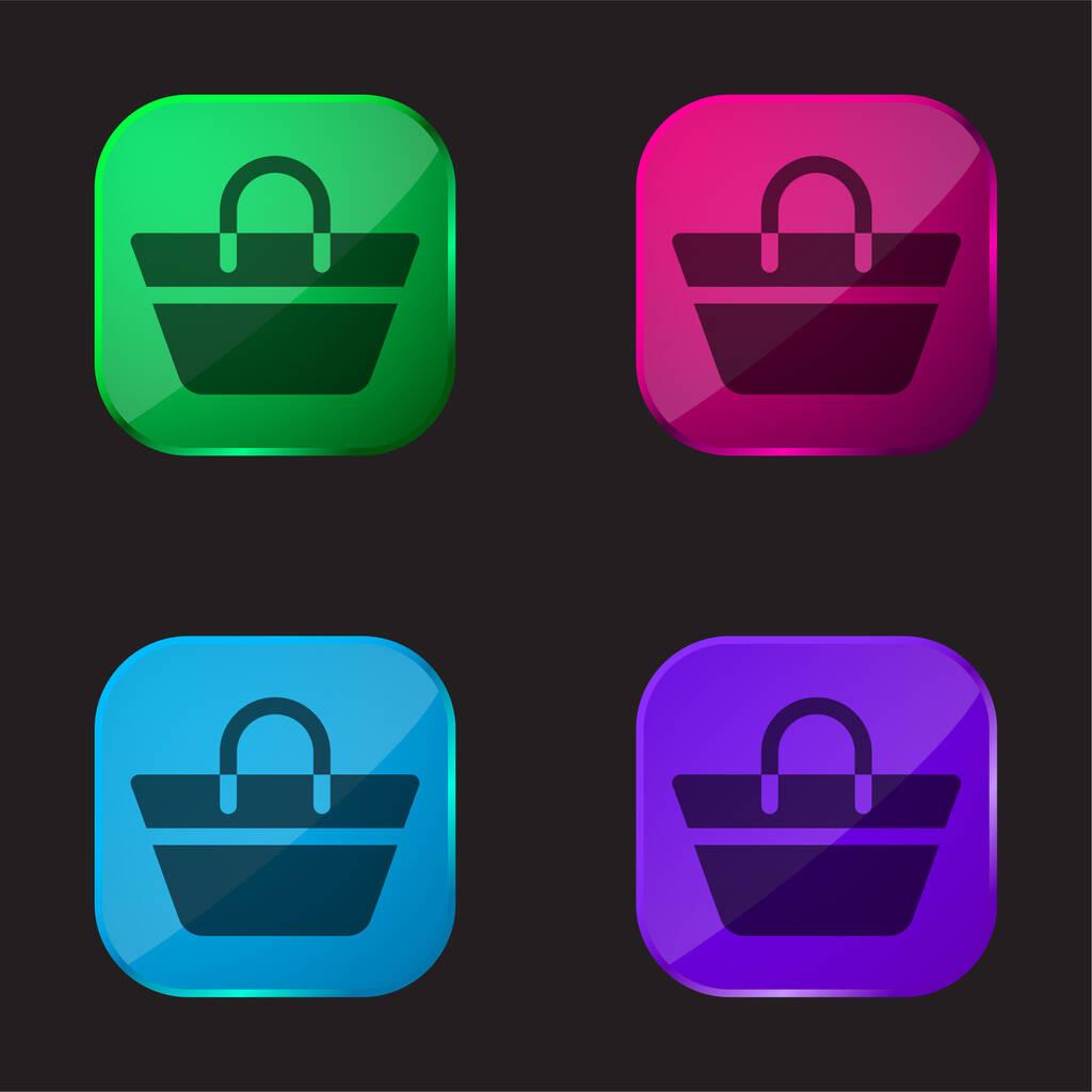Beach Bag four color glass button icon