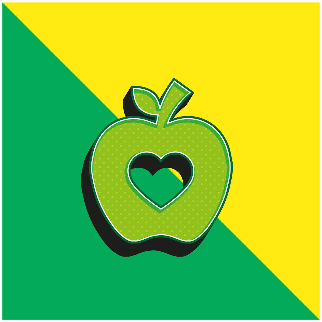 Apple Silhouette With Heart Shape Green and yellow modern 3d vector icon logo