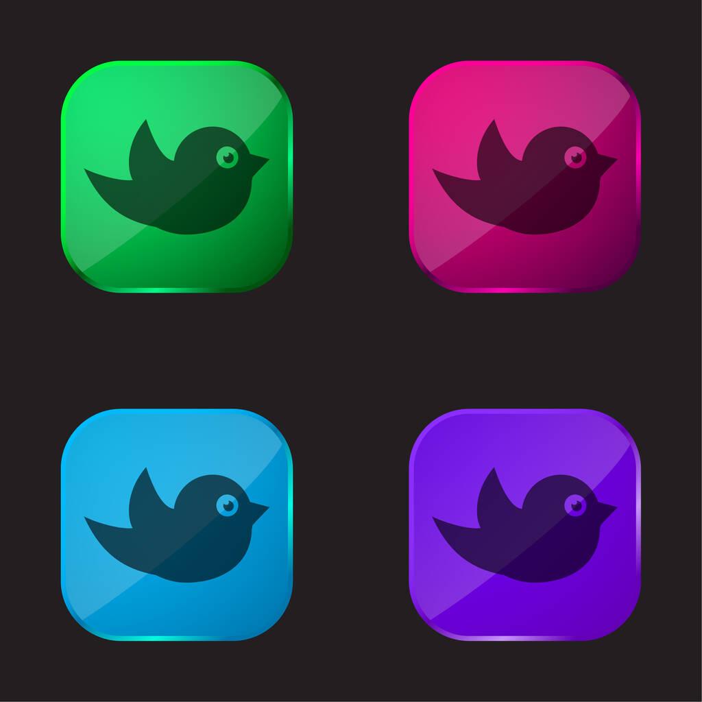 Black Bird four color glass button icon