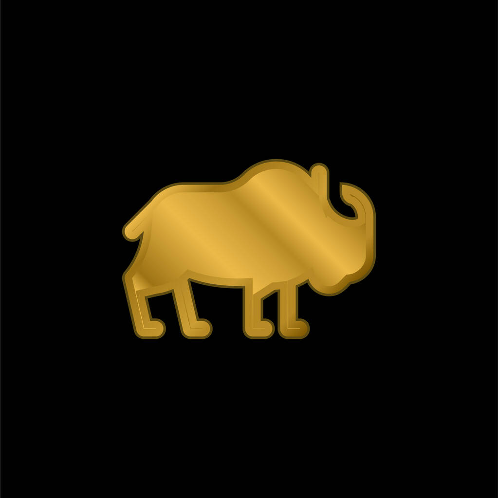 Bison gold plated metalic icon or logo vector