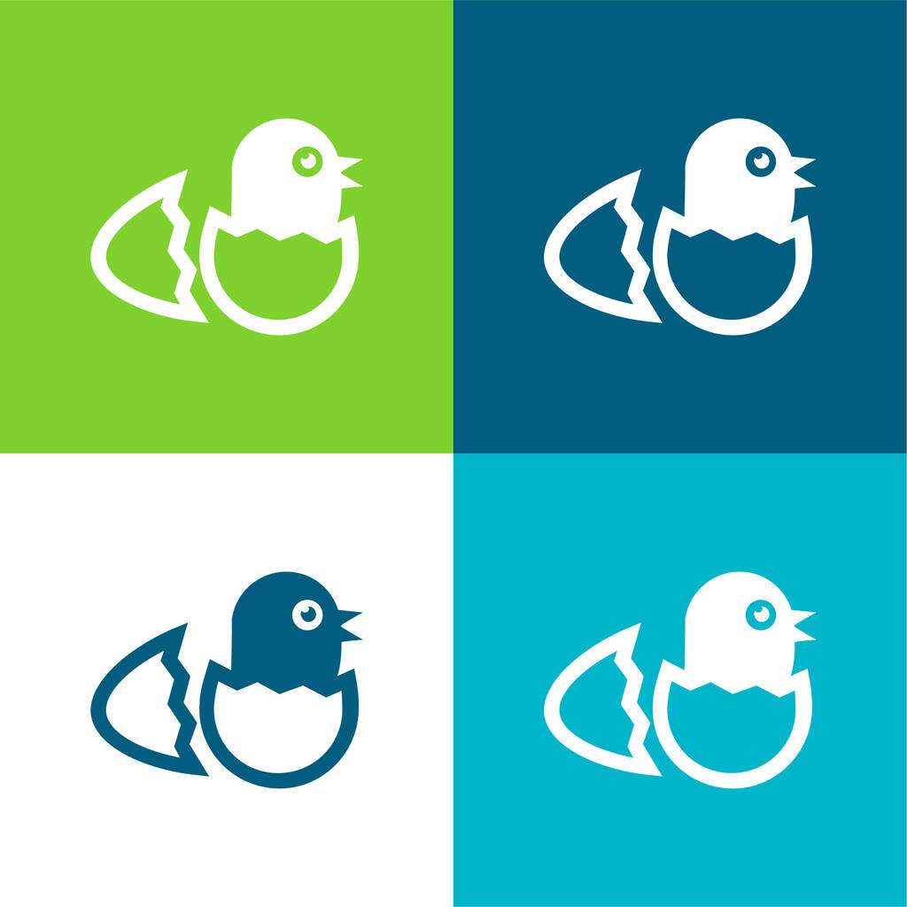 Bird In Broken Egg From Side View Flat four color minimal icon set