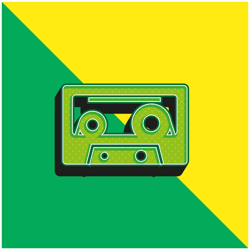 Audio Cassette Green and yellow modern 3d vector icon logo