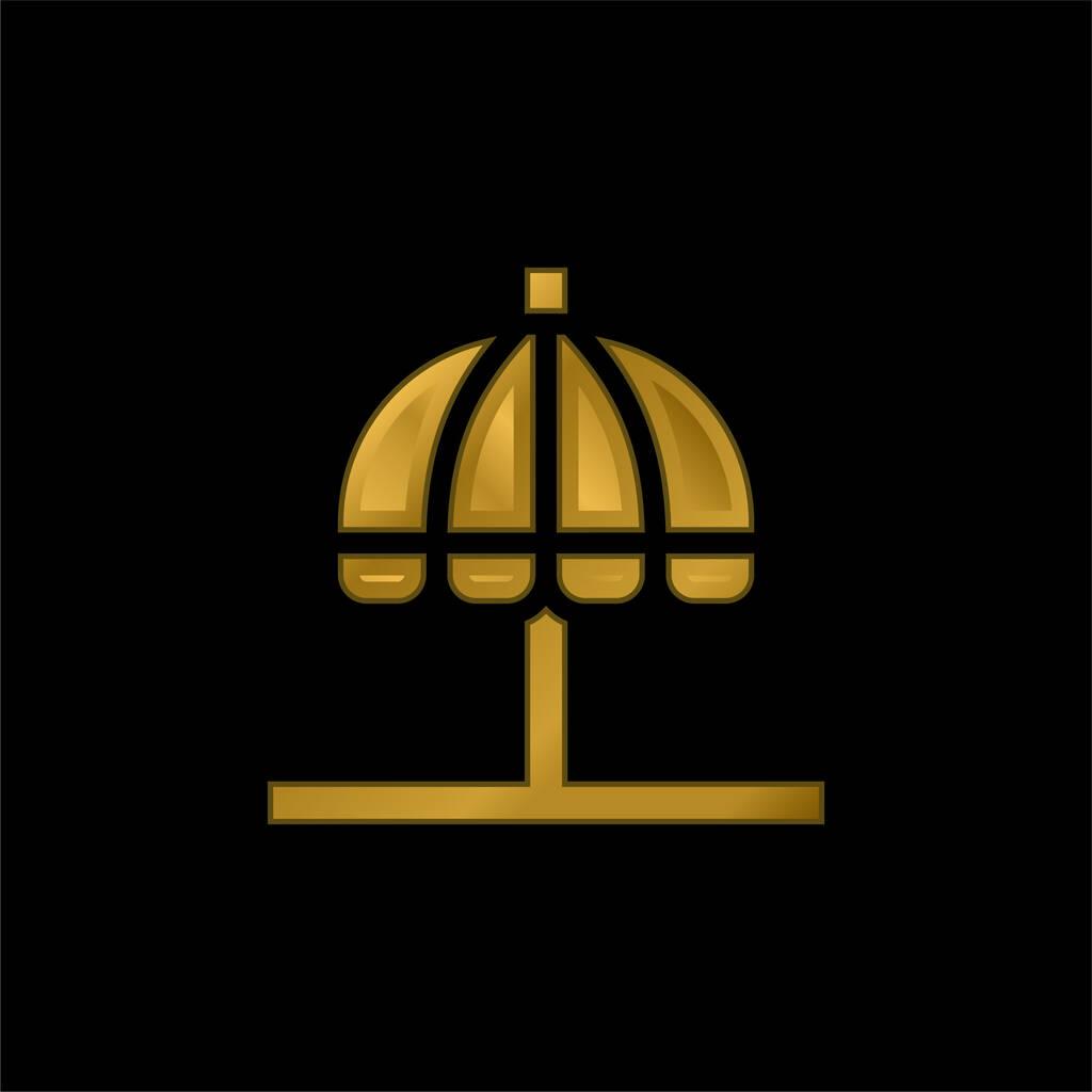 Beach Umbrella gold plated metalic icon or logo vector