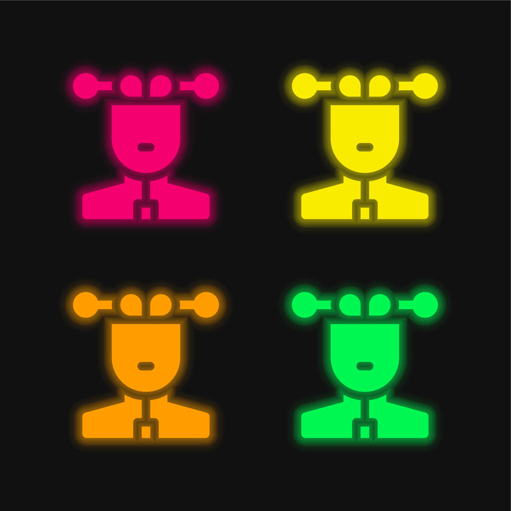 Artificial Intelligence four color glowing neon vector icon