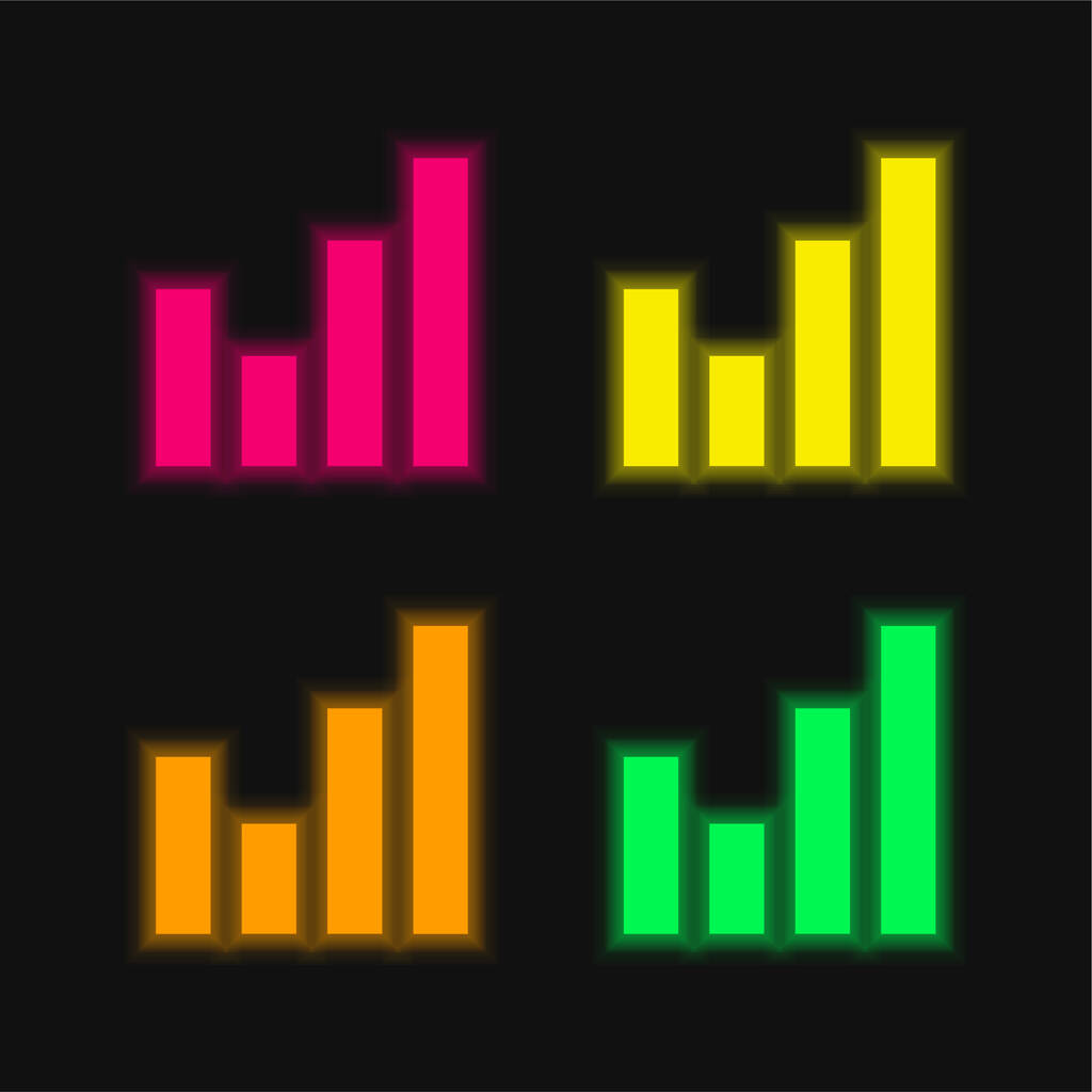 Bar Chart four color glowing neon vector icon