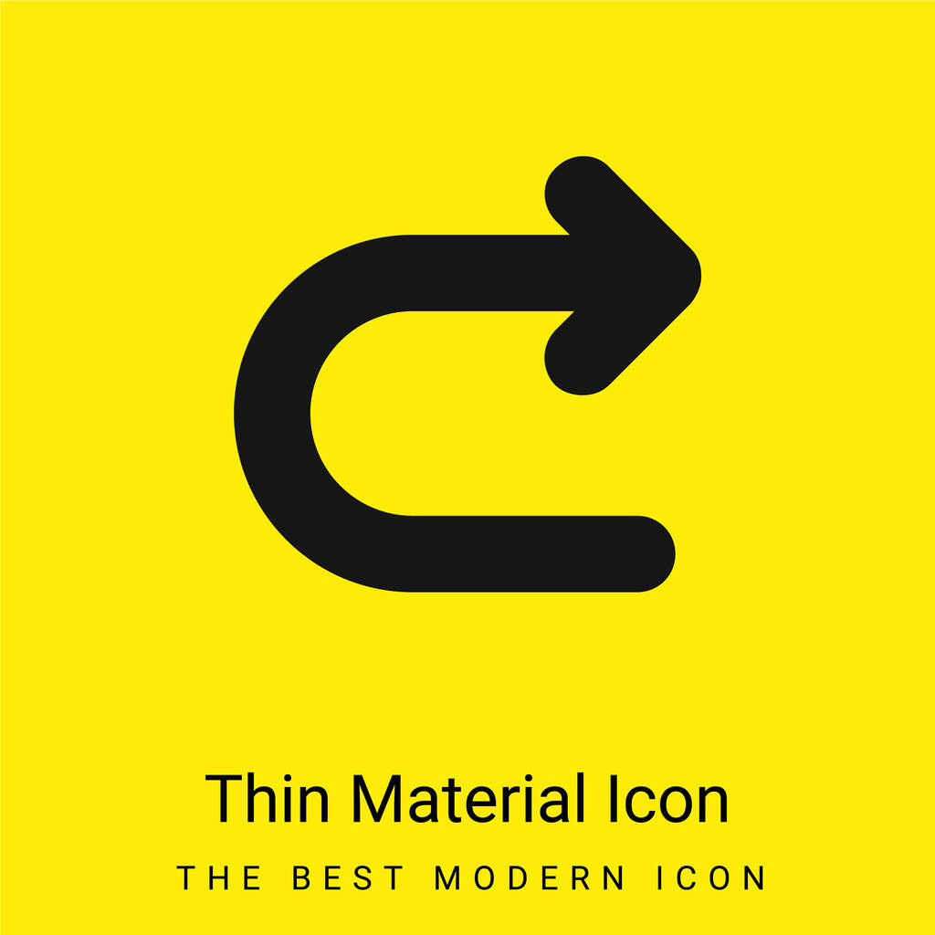 Arrow Turning To Right minimal bright yellow material icon