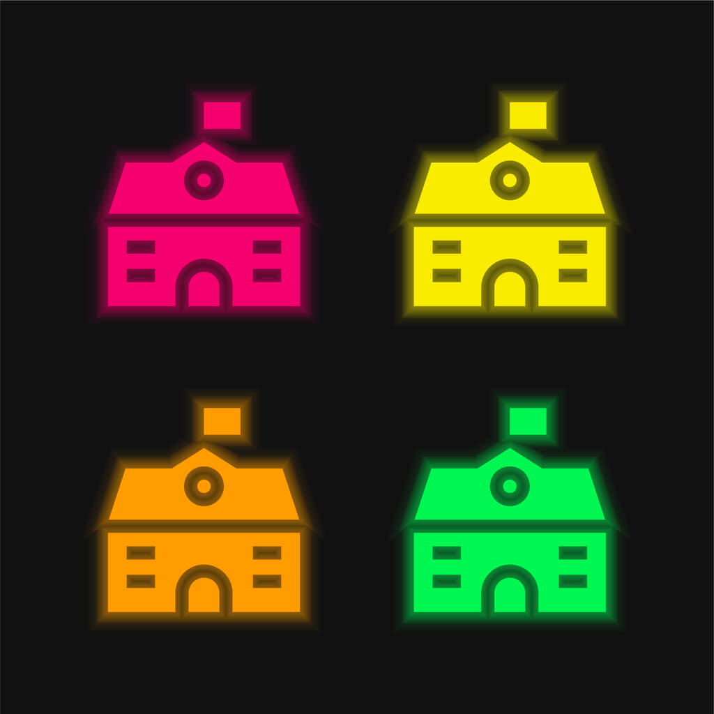 Big House four color glowing neon vector icon