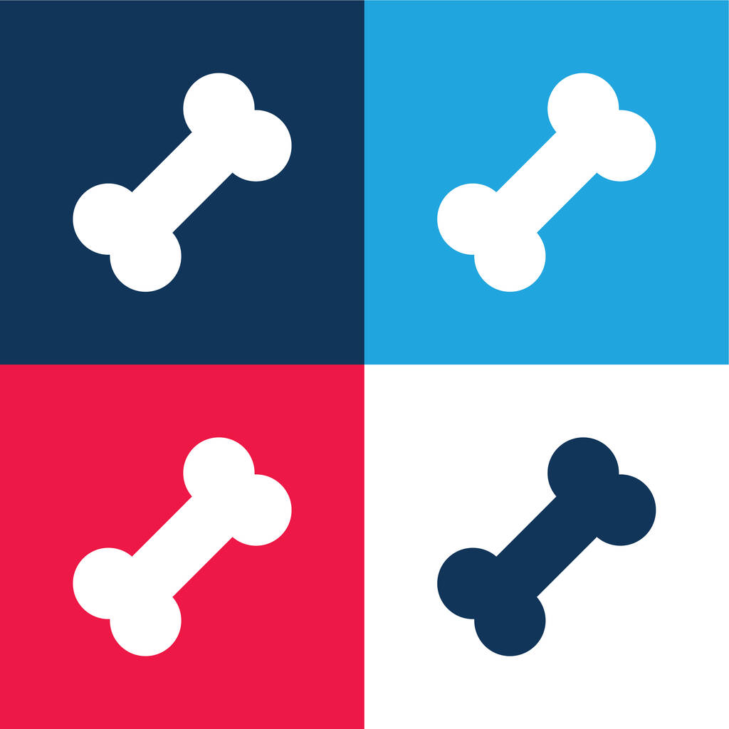 Bone blue and red four color minimal icon set
