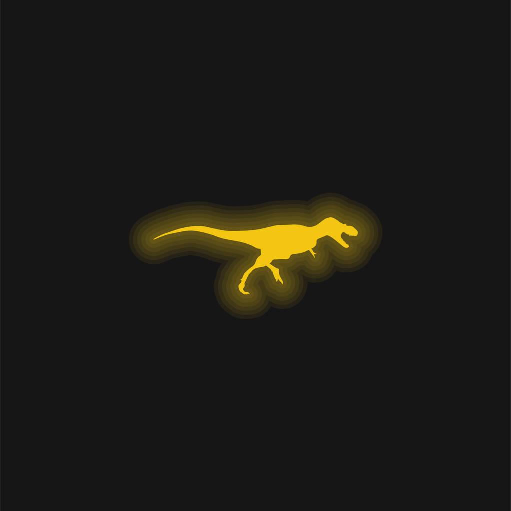 Albertosaurus Dinosaur Side View Shape yellow glowing neon icon