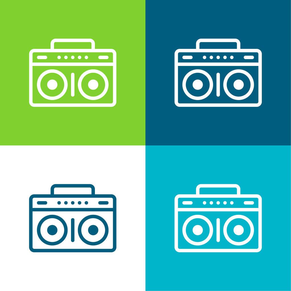 Boombox Flat four color minimal icon set