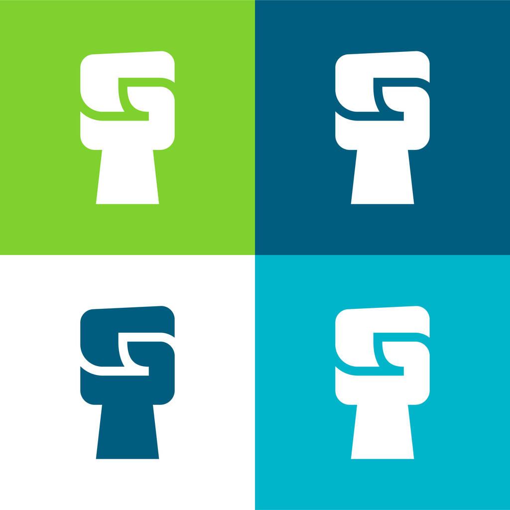 Black Power Flat four color minimal icon set