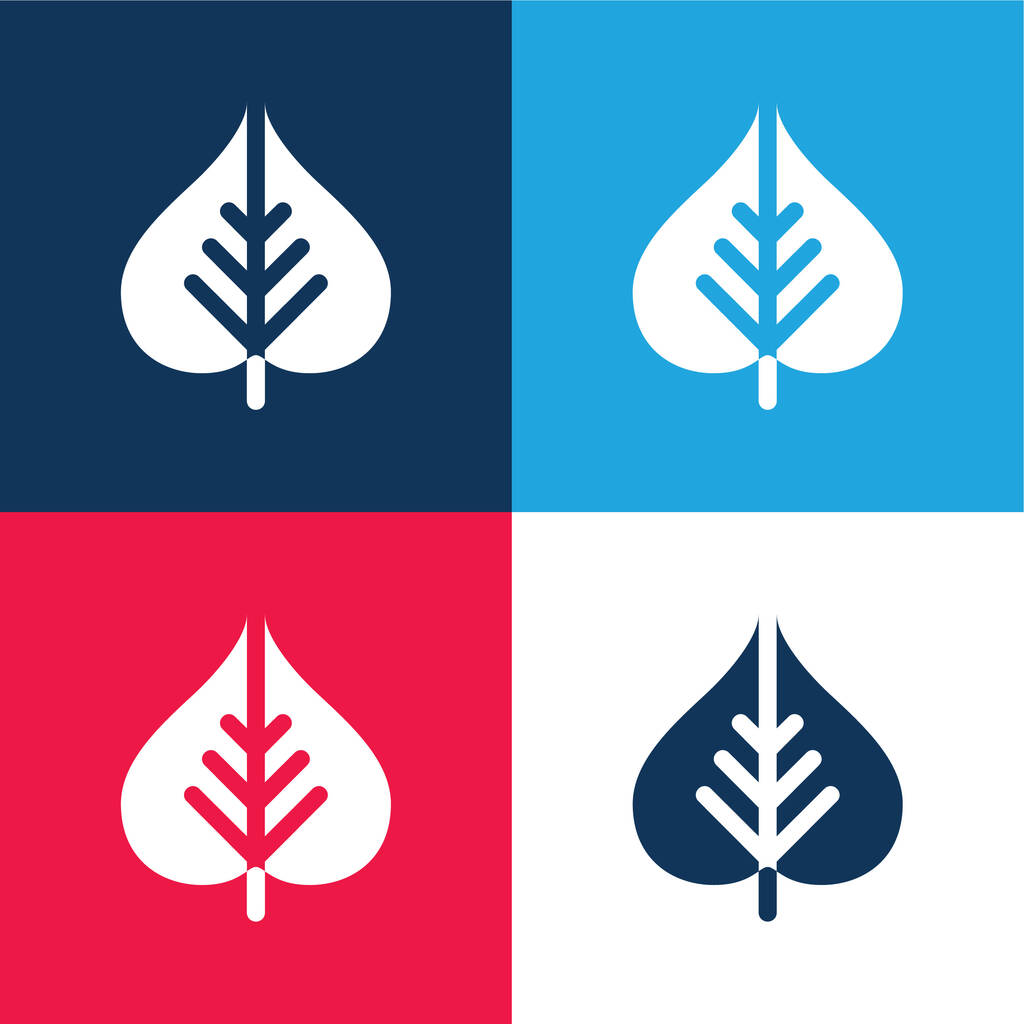 Bodhi Leaf blue and red four color minimal icon set