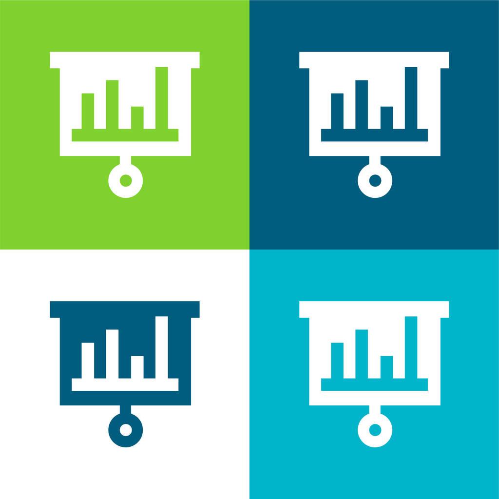 Bars Chart Flat four color minimal icon set