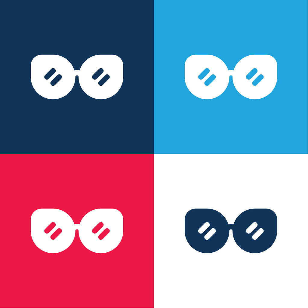 Accessory blue and red four color minimal icon set