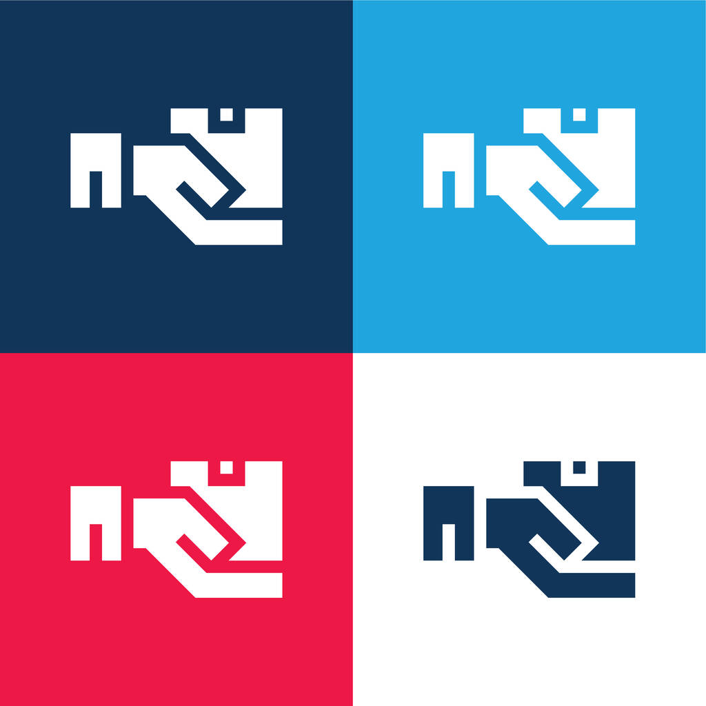 Box blue and red four color minimal icon set