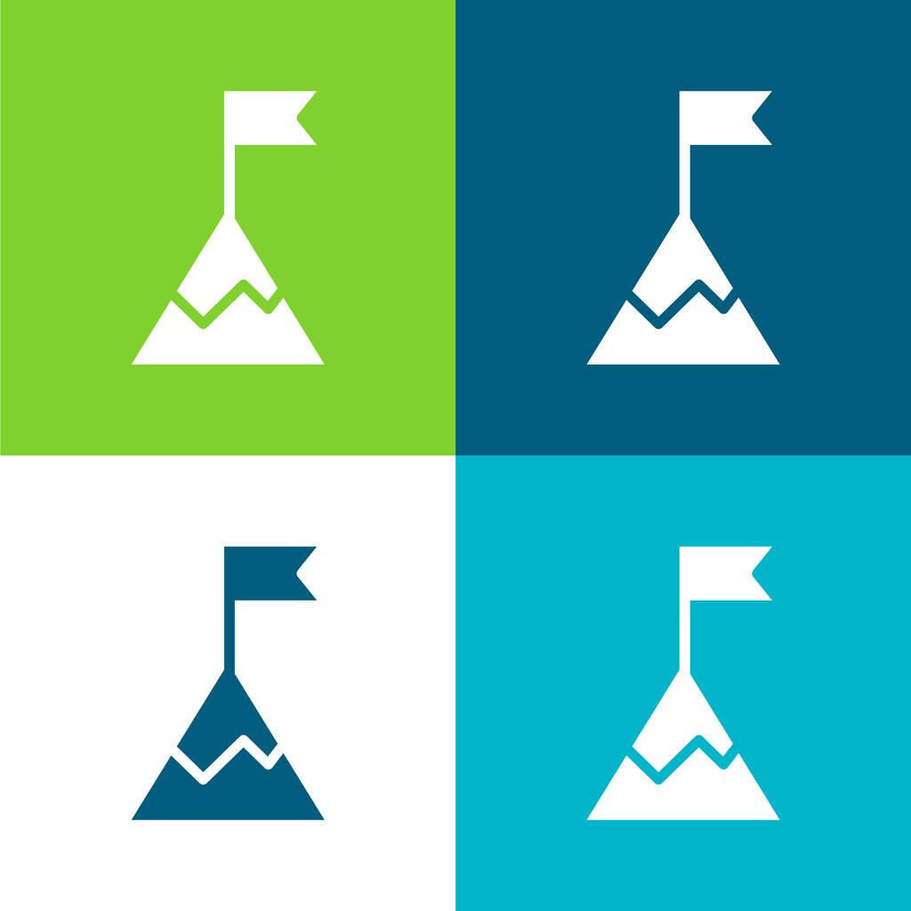 Achievement Flat four color minimal icon set