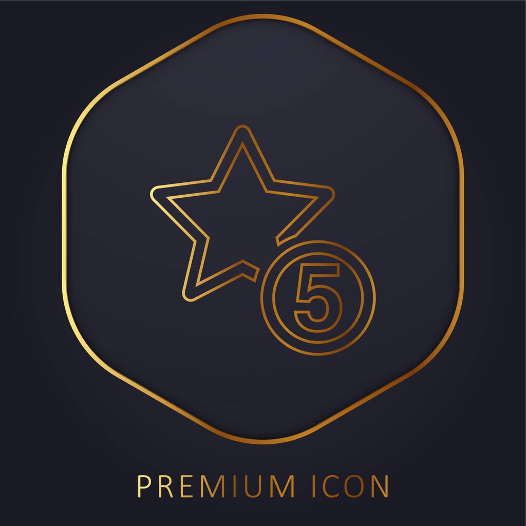 5 Stars Sign golden line premium logo or icon